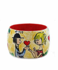 Bracciale dipinto a mano – Dolci innamorati … omaggio a Peynet