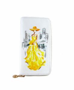 Portafoglio dipinto a mano – Lady in yellow