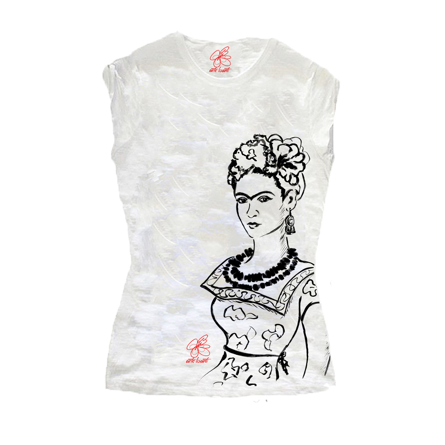 T-shirt dipinta a mano – Passione per Frida black and white