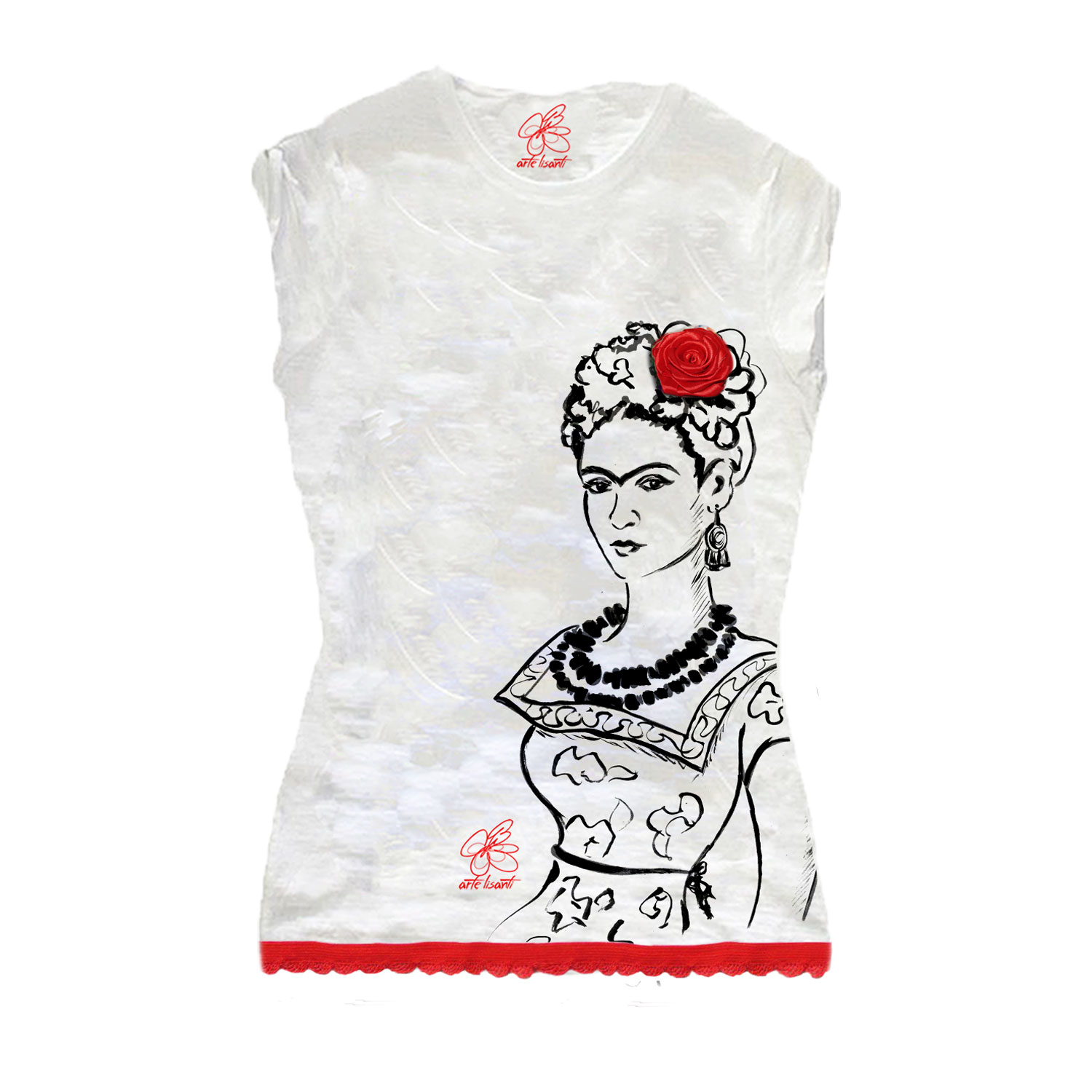 T-shirt dipinta a mano - Passione per Frida black and white