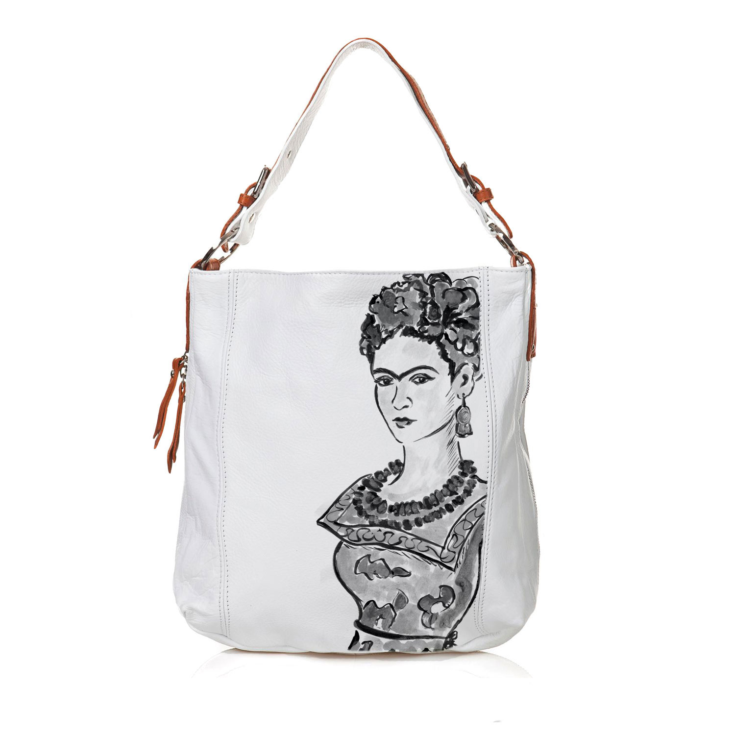 Borsa dipinta a mano - Passione per Frida black and white