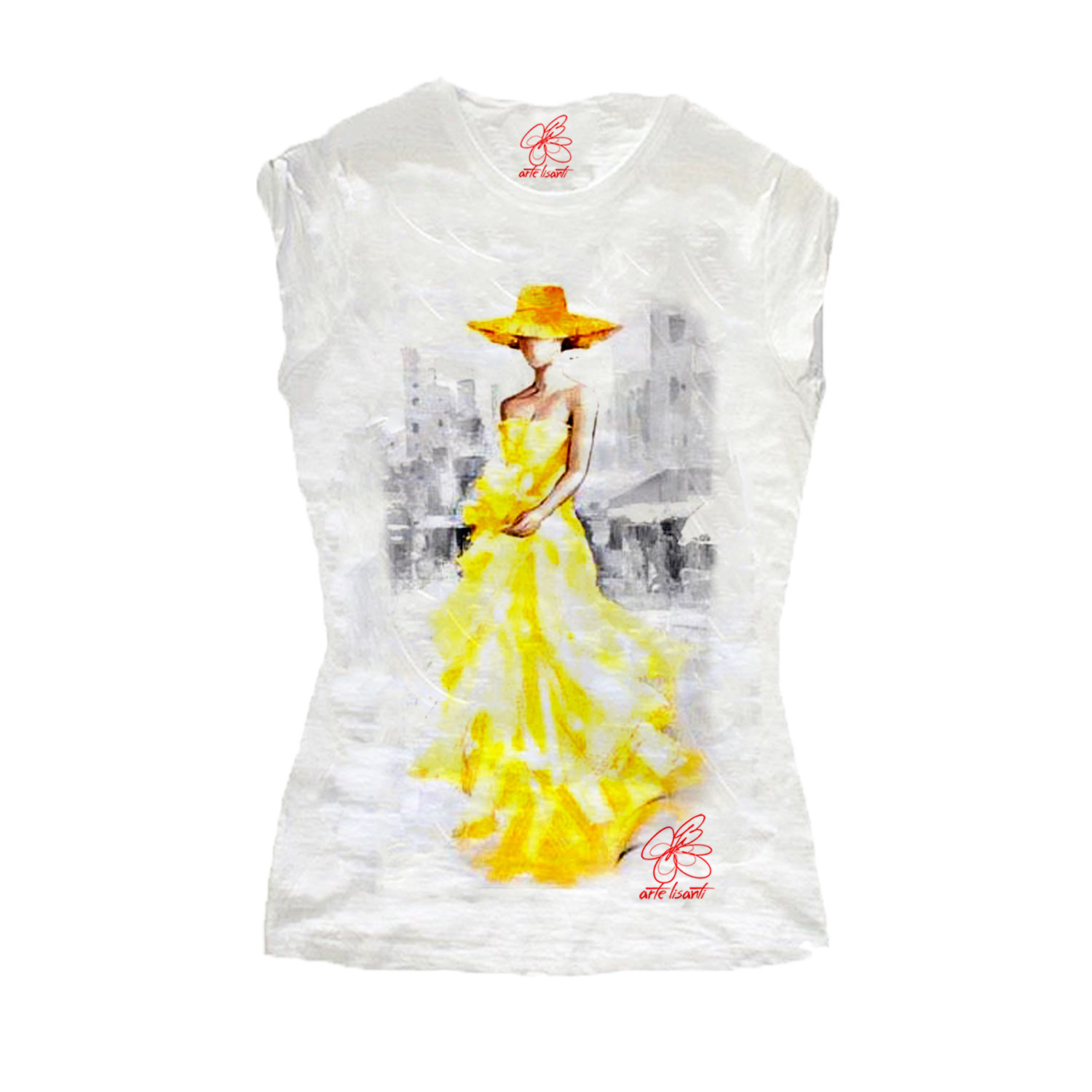 T-shirt dipinta a mano - Lady in yellow
