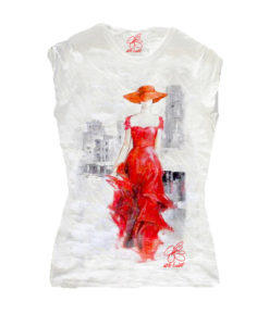 T-shirt dipinta a mano - Lady in red