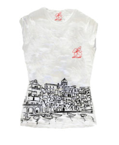 T-shirt dipinta a mano - I love Procida black and white