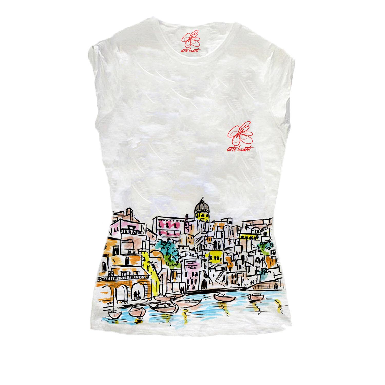 T-shirt dipinta a mano - I love Procida