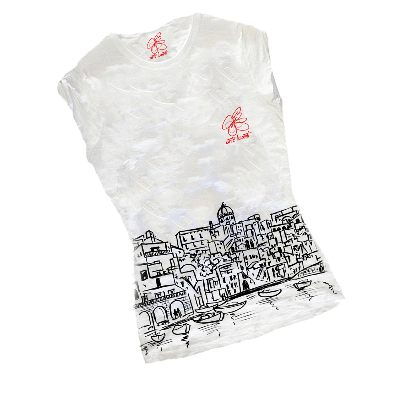 T-shirt dipinta a mano - I love Procida black and white