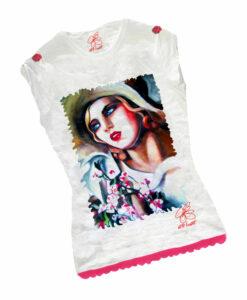 T-shirt dipinta a mano - Ritratto di giovane ragazza di De Lempicka