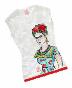 T-shirt dipinta a mano - Passione per Frida color