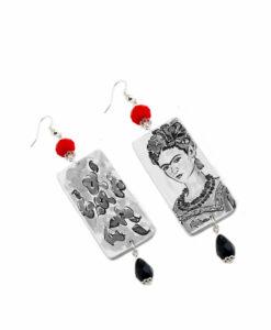 Orecchini dipinti a mano – Passione per Frida black and white