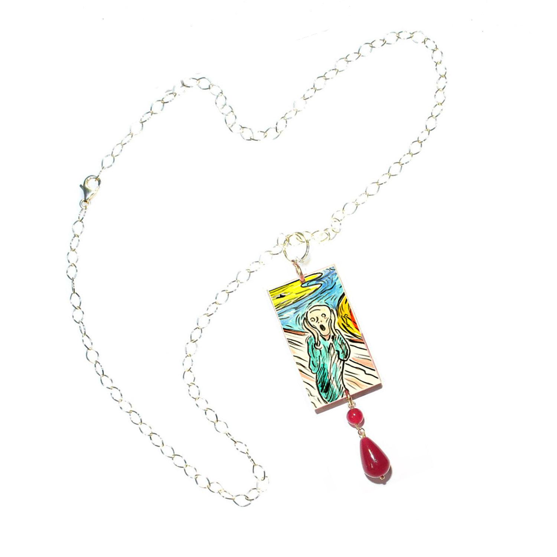 Collana dipinta a mano – L'urlo di Munch cartoon color