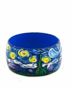 Bracciale dipinto a mano – La notte stellata di Van Gogh