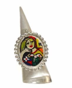 Anello dipinto a mano – Donna che legge di Picasso