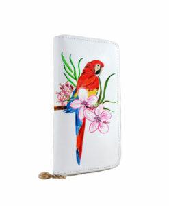 Portafoglio dipinto a mano – Red parrot