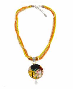 Collana dipinta a mano – Il bacio di Klimt