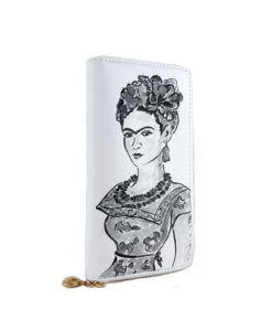 Hand-painted wallet - Passion for Frida black and white
