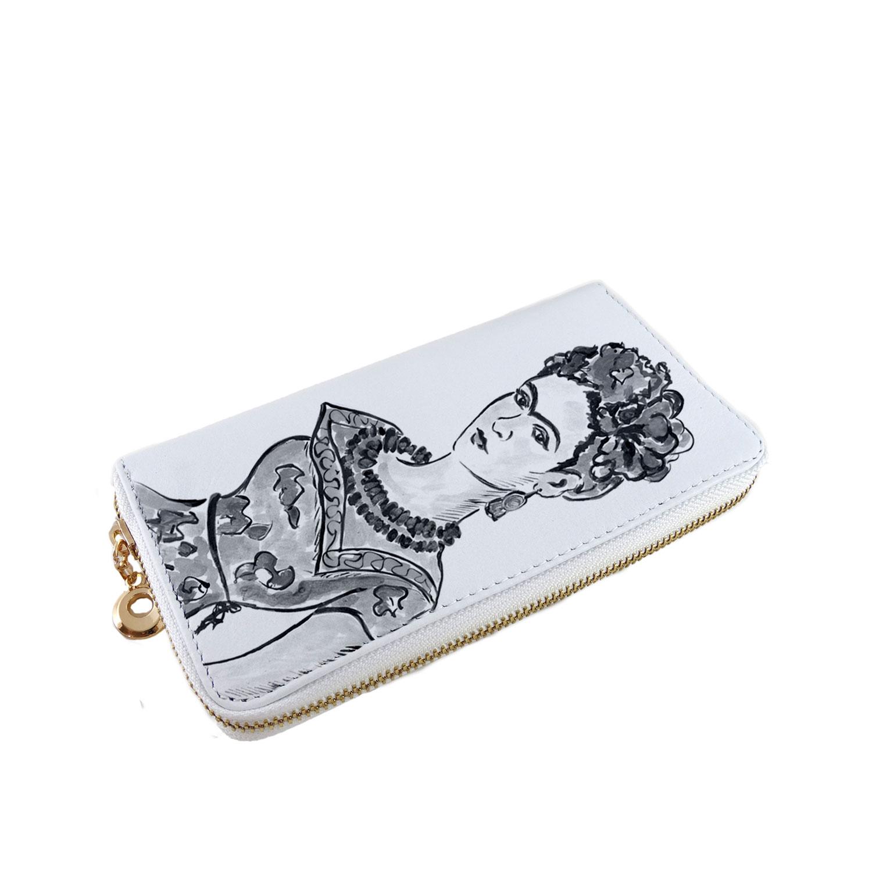 Portafoglio dipinti a mano – Passione per Frida black and white