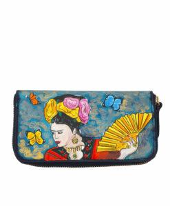 Portafoglio dipinto a mano - Omaggio a Frida Kahlo
