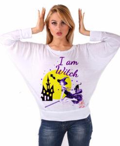 Maglia pipistrello dipinta a mano - I am witch