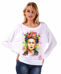 Hand-painted bat shape shirt - I love Frida Kahlo