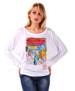 Maglia pipistrello dipinta a mano - L'urlo di Munch cartoon color