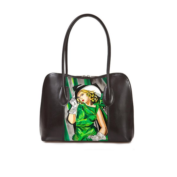 Hand-painted bag - Girl in green by De Lempicka