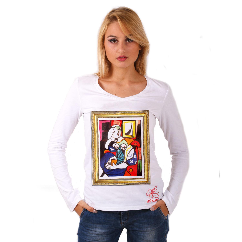 Maglia con scollo a V dipinta a mano - Donna che legge di Picasso