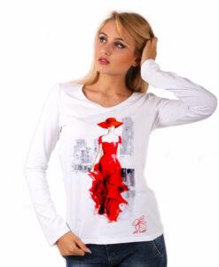Maglia con scollo a V dipinta a mano - Lady in red