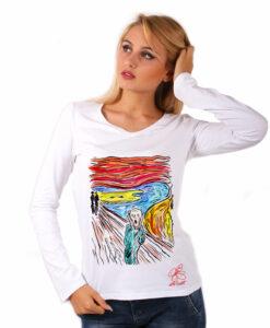 Maglia con scollo a V dipinta a mano - L'urlo di Munch cartoon color