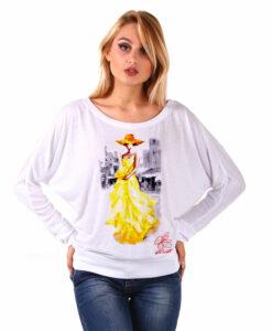 Maglia pipistrello dipinta a mano - Lady in yellow