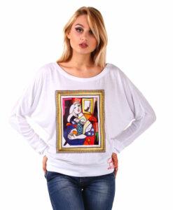 Maglia pipistrello dipinta a mano - Donna che legge di Picasso