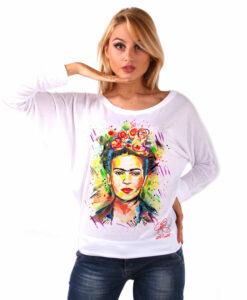 Maglia pipistrello dipinta a mano - I love Frida Kahlo