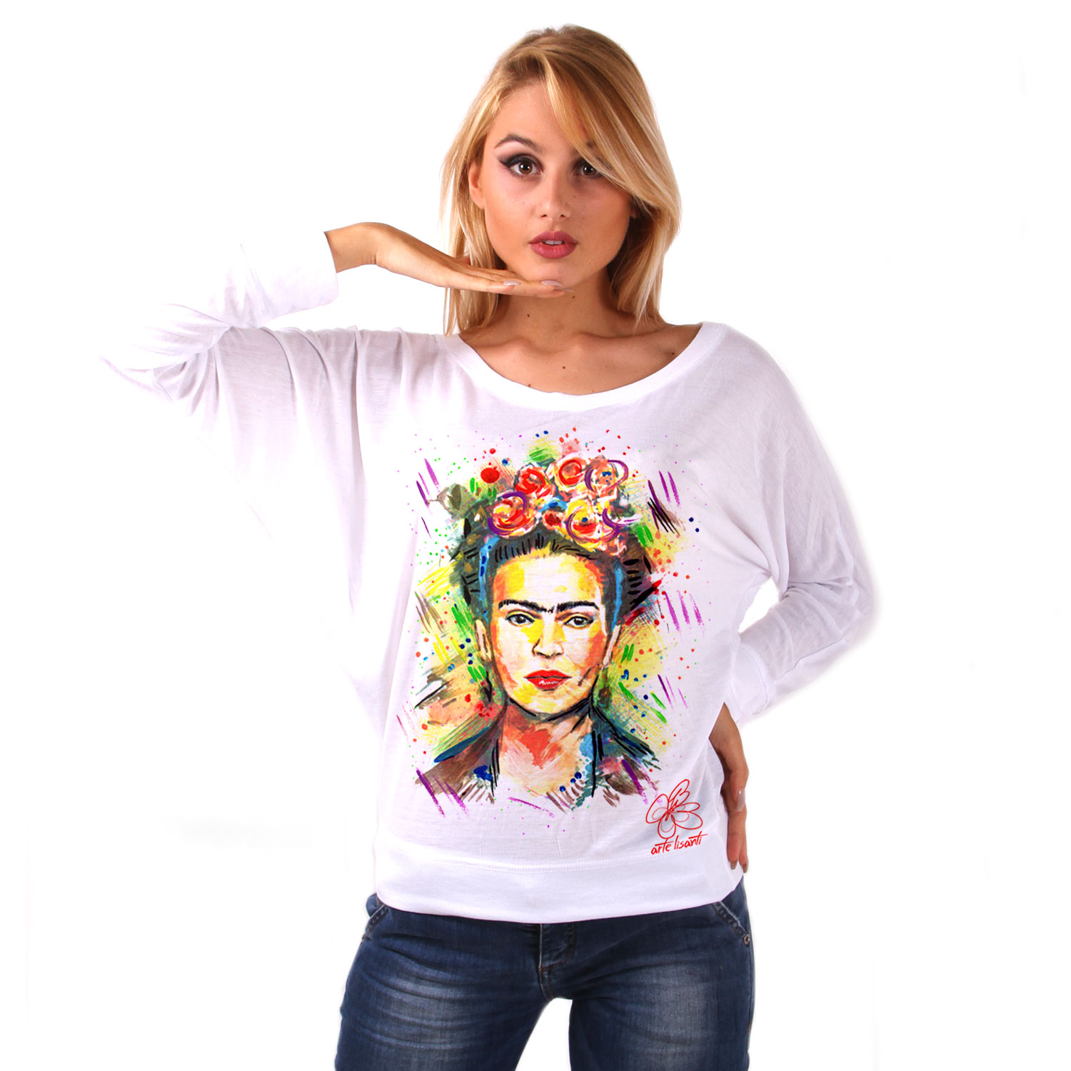 Hand-painted bat shape shirt - I love Frida Kahlo