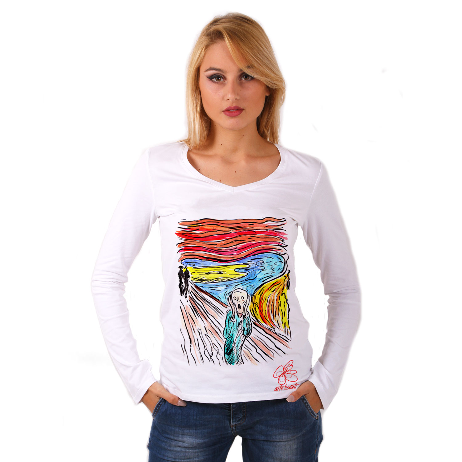 Maglia con scollo a V dipinta a mano - L'urlo di Munch cartoon color
