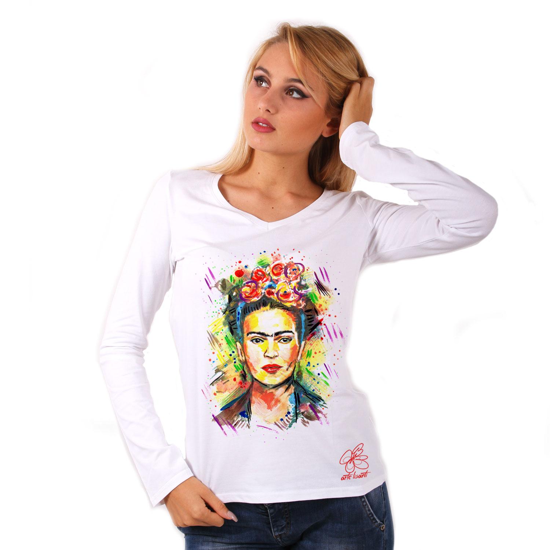 Maglia con scollo a V dipinta a mano - I love Frida Kahlo