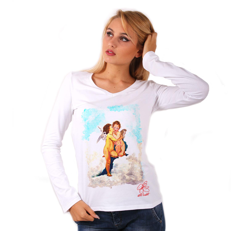 Maglia con scollo a V dipinta a mano - Amore e psiche, bambini di Bouguereau