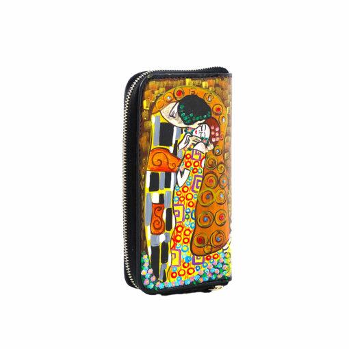 Portafoglio artigianale in pelledipinto a mano – Il bacio di Klimt