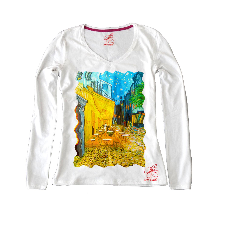 Maglia con scollo a V dipinta a mano - Caffè di notte di Van Gogh