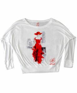 Maglia pipistrello dipinta a mano - Lady in red