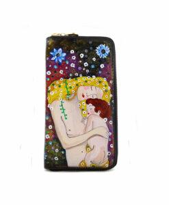 Portafoglio artigianale in pelle dipinto a mano – Madre e figlio di Klimt