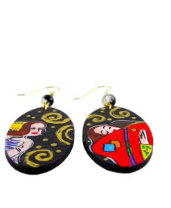 Handpainted Earrings - The Tree of Life by Klimt