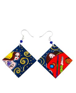 Hand painted earrings - The Tree of Life by Klimt