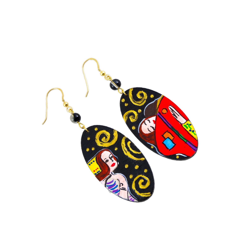 Handpainted Earrings - The Tree of Life by Klimt