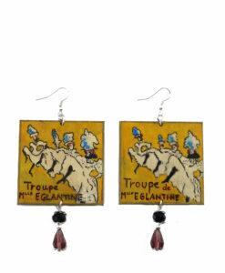 Orecchini dipinti a mano – La Troupe de M.lle Eglantine di Lautrec