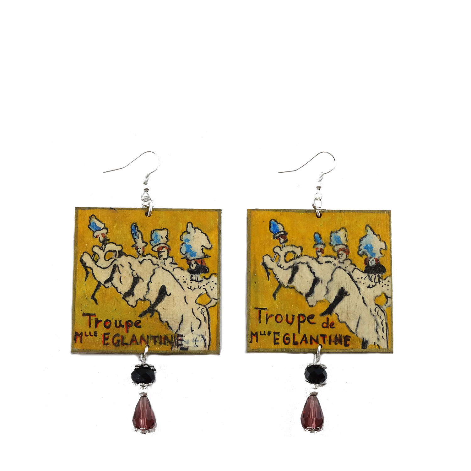 Hand-painted earrings - La Troupe de Mlle Eglantine by Lautrec