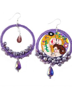 Hand-painted Earrings – Mother and child by Klimt