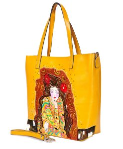 Borsa dipinta a mano – Omaggio a Gustav Klimt