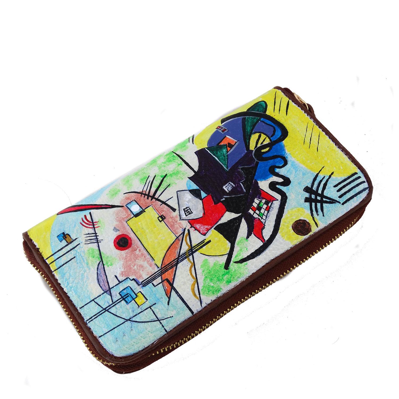 Portafoglio in pelle dipinto a mano – Blu, giallo, rosso di Kandinskij