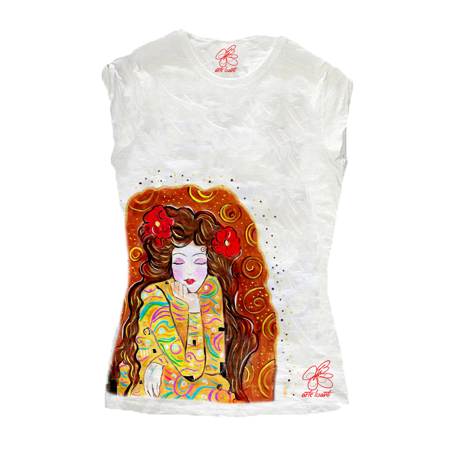 Hand-painted T-shirt - Tribute to Gustav Klimt