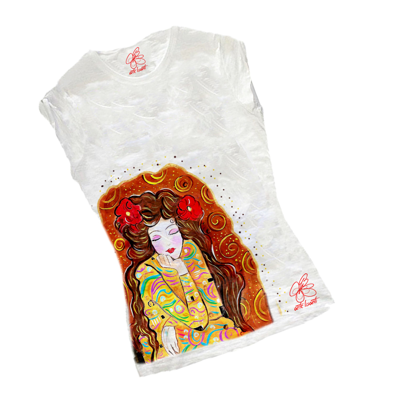 T-shirt dipinta a mano - Omaggio a Gustav Klimt