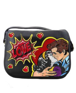 Hand-painted bag - Love, tribute to Roy Lichtenstein
